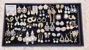 44 Piece Vintage & Modern Faux Pearl and Rhinestone Pierced Earring Lot