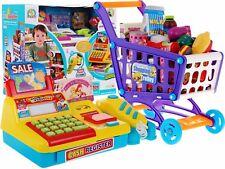 Supermarkt Registrierkasse Kaufladen Kinderkasse + Korb auf Rädern mit Produkten