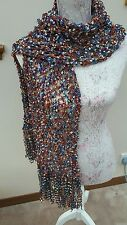 Hand knitted  ladder yarn stole wrap scarf.  Wendy melody