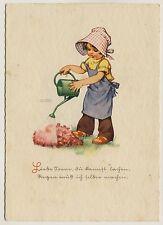 Lungershausen fille avec arrosoir * artistes-AK de 1930