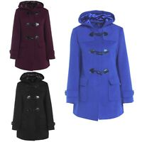 LADIES DUFFLE WOOL COAT WOMENS TRENCH WINTER CASUAL HOODED WARM JACKET OVERCOAT