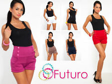 Patternless Hot Pants High Rise Plus Size Shorts for Women