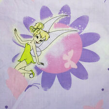 Vintage Tinkerbell Tinker Bell Fairies Disney Twin Bed Flat Sheet & Pillow Case