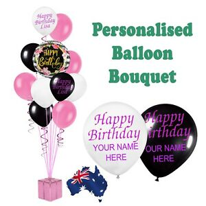 PERSONALISED PARTY DECORATIONS HAPPY BIRTHDAY BALLOONS BOUQUET HELIUM NAME 30CM