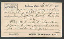 1884 PC Acres & Blackmar Printers Binders & Blank Book Makers Burlington Ia