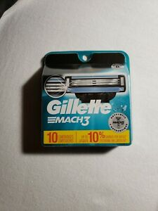 Gillette Mach3 Mach 3 Refill Razor Blades Pack of 10 New Sealed Free Shipping
