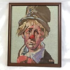 Needle Point Sad Blonde Clown With Hat Framed Circus Mint Green Brown Completed