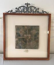 Vintage Framed Tin Ceiling Tile, Victorian, Hand Painted, Retro Art, Repurposed