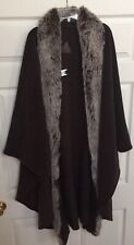 OOAK Fjall Women's Virgin Wool Blend ONE SIZE Maxi Cape Faux Fur, Stunning, USA