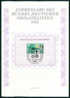 JAHRESGABE BDPH 1986 BLOCK-GEDENKBLATT 8 BERUFE OPTIKER u507