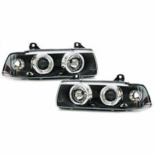 To Fit BMW 3 Series E36 Saloon & Estate Black Angel Car Headlights 1 Pair