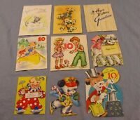 Vintage Lot of Birthday Cards 1940's 1950's Norcross Greeting Artwork MCM