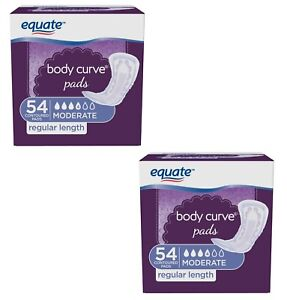 108 Count Equate Body Curve Women Incontinence Pads Moderate Regular 54 x 2 Pack
