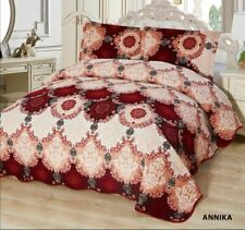 3-Pcs California King Quilted Reversible VELVET Bedspread Coverlet Set - ANNIKA