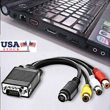 Powerful VGA SVGA to S-Video 3RCA AV TV Out Cable Adapter Combo Converter PC