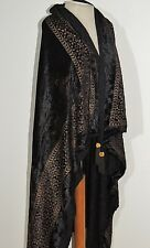 Edwardian Stenciled Silk Velvet Shawl w Tassels