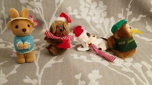 Vtg Set of 4 Plush Pencil Grabbers/Huggers Dog/Kiwi/Rabbit
