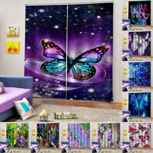 2 Panels Starry Sky Butterfly Curtains 50% Blackout LivingRoom Window Curtains