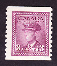 Canada GVI 1948 3c coil perf 9.5 mm, fine, sg398, (gum thin) cat £5.00