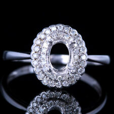 10K WHITE GOLD SEMI MOUNT PAVE SETTING ENGAGEMENT DIAMONDS HALO RING OVAL 5X6MM