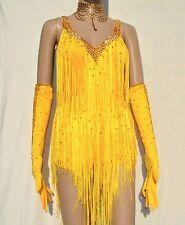 Custom Yellow Rhythm Latin Ballroom Dress/Gloves/Jewelry Set Size XS/S
