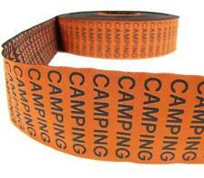 "1 Yd Orange Camping Woven Jacquard Ribbon 2 1/8""W"