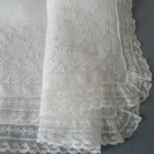 Vintage Sheer Linen + French LACE Embroidered Handkerchief WEDDING Bridal w Box