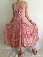 Women's Sleeveless Cotton Boho Gypsy Ruffle Pink Party Eve Maxi Casual Dress