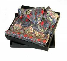Ladycrow Luxurious Fine Liberty Silk Satin Scarf in Stunning Blue Nouveau Design