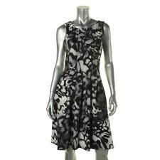 Calvin Klein 8691 Womens Gray Printed Sleeveless Party Cocktail Dress 14 BHFO
