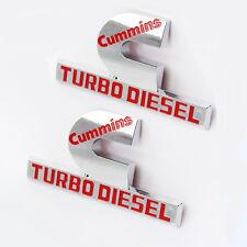 "2x OEM Red Cummins Turbo Diesel HIGH OUTPUT Emblem Decal Dodge Ram MOPAR F 4.5"""