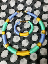 necklace+braceletssyellow /green/purple/gold. hand made massai