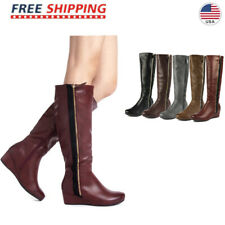 DREAM PAIRS Women's Low Wedge Knee High Mid Calf Winter Riding Boots Size US