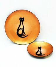 Pair Mcm Bovano of Cheshire Enamel on Copper Dishes w/ Cat Design