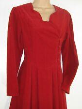 LAURA ASHLEY VINTAGE WINTER '93 CHERRY RED NEEDLECORD AUTUMN DAY DRESS,10/12