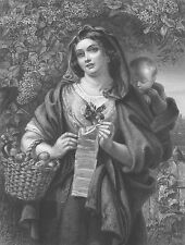 PRETTY YOUNG WOMAN GIRL MOTHER Holds NEW BABY & SINGS ~ 1865 Art Print Engraving