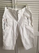 Ralph Lauren Active Cropped Pants w Zippers Capri white  Logo Women 8