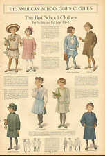 Children, The First School Clothes, Boys & Girls 5 to 8, Vintage 1912 Art Print.