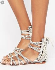 Free People Juliette Gladiator Flat Strappy Sandals Snake Print 37 MSRP $98 NEW