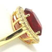 Large 6 Ct Red Ruby Moissanite Halo Ring Women Anniversary Jewelry Size 6 7 8 9