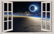 Eclipse Universe Window View Repositionable Color Wall Sticker Wall Mural 3 Feet