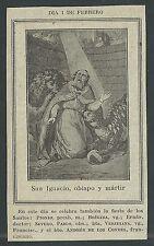 Estampa antigua de San Ignacio andachtsbild santino holy card santini