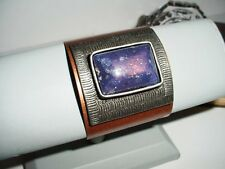 HUGE COPPER DESIGNER CUFF ANTIQUE W/PURPLE LAPIS THICK STONE SILVER CURVED PLATE