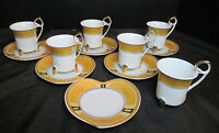 Gold Collection Rana Porcelain Demitasse Cups & Heart Shaped Saucers 12 Pieces