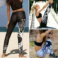 Womens Yoga Leggings Printed Pants Anti-Cellulite Push Up Gym Workout Trousers