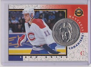 RARE 1997-98 PINNACLE MINT SAKU KOIVU SILVER / NICKEL COIN & CARD #15 ~ QTY