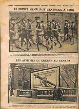 Prince Henry Maneuvers Eton College Military UK/ War Propaganda Canada WWI 1916