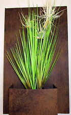 RUST WALL HANGING PLANTER BOX WITH ARTIFICIAL SUNNY GRASS PLANT HOME/GARDEN DECO
