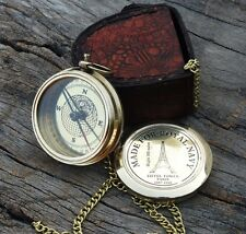 Robert Frost Poem Compass~Vintage Marine Brass Pocket Compass With leather Case