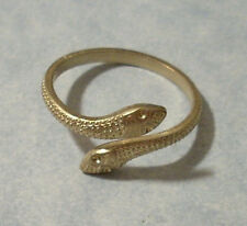 Adjustable Two Headed Snake Ring Band Solid Brass Jewelry Made in USA